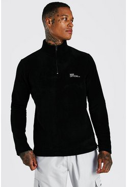 Black svart MAN Official Polar Fleece Half Zip Funnel Top