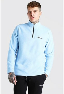 Pale blue blue MAN Official Polar Fleece Half Zip Funnel Top