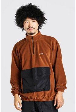 Brown Oversized Man Signature Polar Fleece 1/2 Zip Hoodie