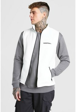 Ecru white MAN Official Polar Fleece Funnel Gilet