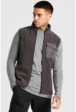 Charcoal grey Polar Fleece Gilet With Nylon Pocket
