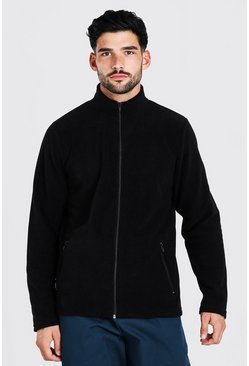Black svart Basic Polar Fleece Zip Through Funnel Top