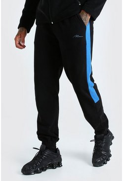 Black MAN Signature Polar Fleece Side Panel Jogger
