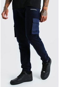 Navy Official MAN Cargo Jogger In Polar Fleece