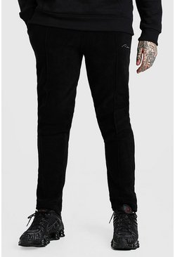 Black Slim Fit MAN Signature Polar Fleece Pintuck Jogger