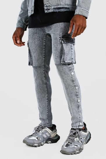 Light grey grey Skinny Stretch Cargo Jean With Side Poppers
