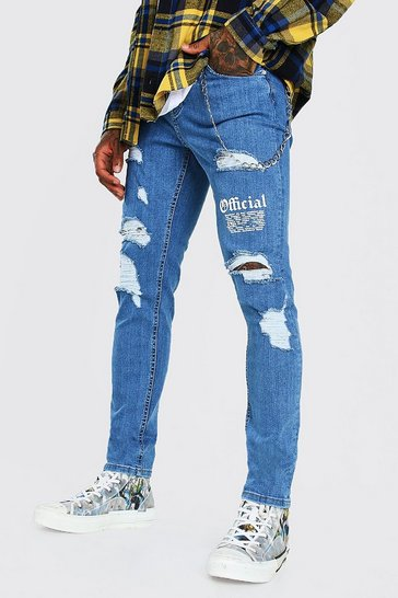 Mid blue blue Official MAN Skinny Stretch Jean With Knee Rips