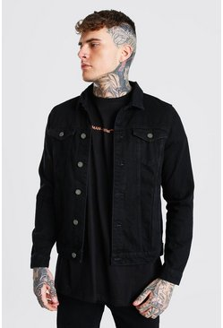Black Regular  Official Back Print Denim Jacket