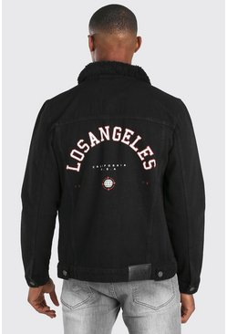 Black Regular Fit Borg Collar LA Back Print Denim Jacket