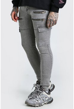 Grey Super Skinny Stretch Cargo Jean With Zips