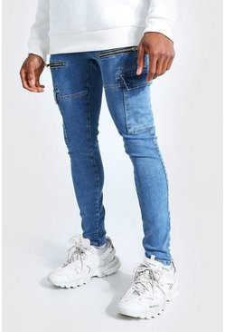 Mid blue blue Super Skinny Stretch Cargo Jean With Zips