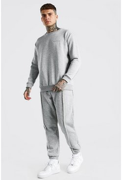 Grey marl grey MAN Official Raw Seam Sweater Tracksuit