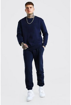 Navy MAN Official Raw Seam Sweater Tracksuit