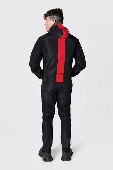 Red Man Dash Stripe Hood Cagoule