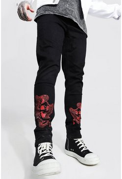 Black Skinny Stretch Jean With Distressing
