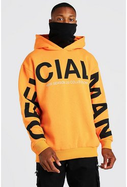 Orange MAN Official Sleeve Print Contrast Snood Hoodie