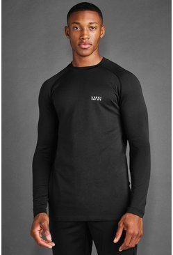 MAN Active Seamless Long Sleeve T-shirt, Black negro