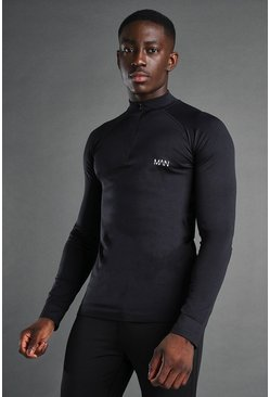 MAN Active Seamless 1/4 Zip Pullover, Black negro