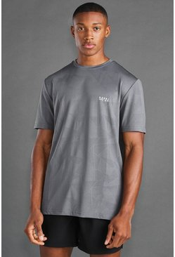 Charcoal grey  MAN Active Fabric Interest T-shirt