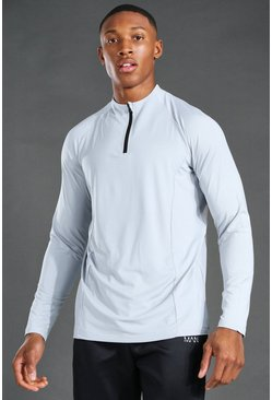 Grey MAN Active 1/4 Zip Raglan Top