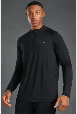 Black MAN Active 1/4 Zip Raglan Top