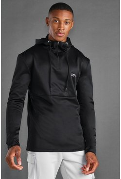 Black MAN Active Funnel Neck Hooded 1/4 Zip Jacket