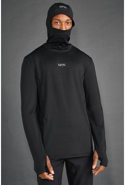 Black MAN Active Snood Hooded Top