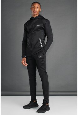 Black MAN Active Utility Hooded Tracksuit