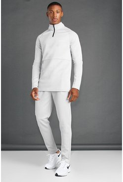 Grey MAN Active Skinny Fit 1/4 Zip Funnel Neck Tracksuit