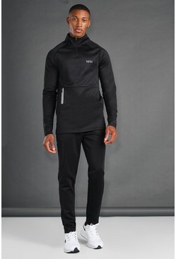Black MAN Active Skinny Fit 1/4 Zip Funel Neck Tracksuit