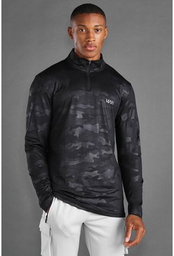 Black MAN Active Fabric Interest 1/4 Zip Top