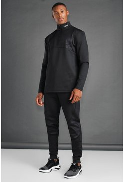Black MAN Active Skinny Camo Panelled Tracksuit