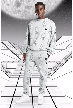 Grey marl Oversized Disney Mickey AOP Sweater Tracksuit