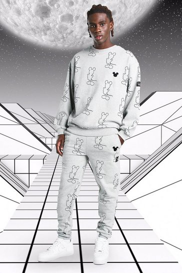 Grey marl grey Oversized Disney Mickey AOP Sweater Tracksuit