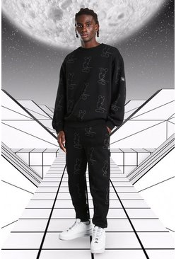 Black Oversized Disney Mickey AOP Sweater Tracksuit