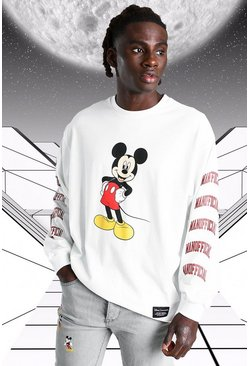 White Oversized Disney Mickey MAN Long Sleeved T-Shirt