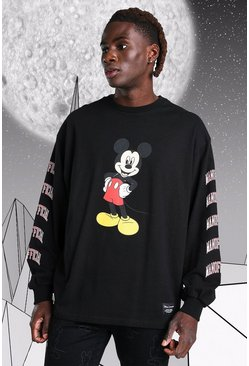 Black Oversized Disney Mickey MAN Long Sleeved T-Shirt