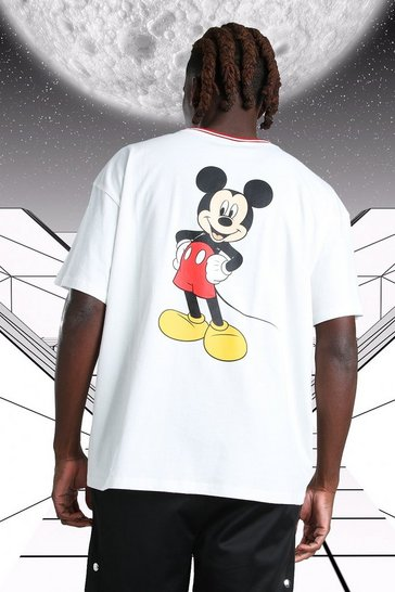 White Oversized Disney Mickey MAN Ribbed T-Shirt