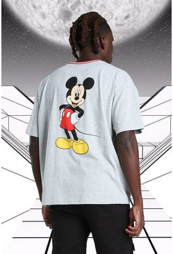 Grey marl Oversized Disney Mickey MAN Ribbed T-Shirt