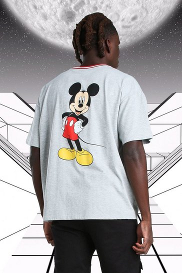 Grey marl grey Oversized Disney Mickey MAN Ribbed T-Shirt