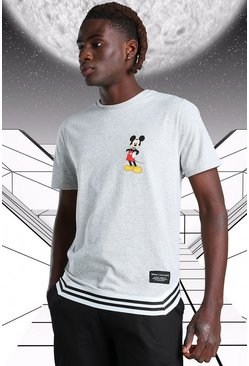 Grey marl Disney Mickey MAN Official T-Shirt With Tape