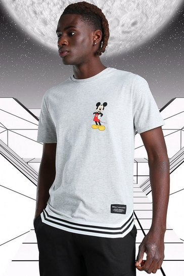 Grey marl grey Disney Mickey MAN Official T-Shirt With Tape