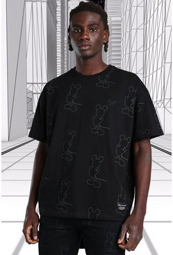 Black Oversized Disney Mickey All Over Print T-Shirt