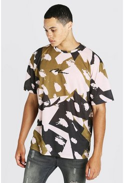 Green Oversized MAN Signature Abstract Camo Print T-Shirt
