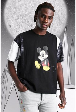 Black Oversized Disney Mickey Spliced T-Shirt