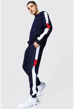 Navy Sweater Tracksuit With Contrast Side Panels