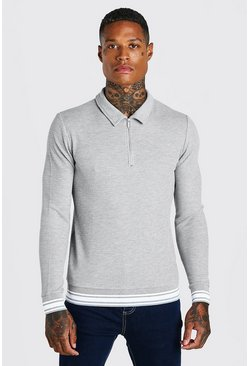 Grey marl grey Muscle Fit Long Sleeve Knit Polo With Stripes