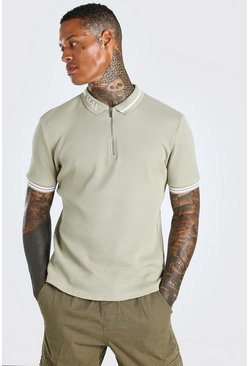 Stone beige MAN Muscle Fit Short Sleeve Contrast Collar Polo