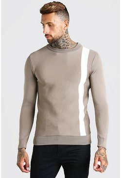 Taupe beige Muscle Fit Stripe Knitted Jumper