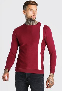 Burgundy red Muscle Fit Stripe Knitted Jumper